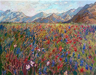 Indian Wells landscape art original oil painting of desert blooms