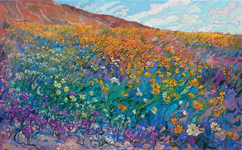 Borrego Springs super bloom yellow wildflower oil painting by Erin Hanson
