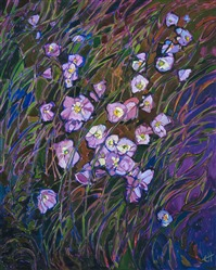 Evening Primrose wildflower oil painting by American impressionist Erin Hanson