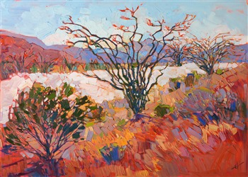 Desert ocotillo oil painting landscape for sale by Erin Hanson