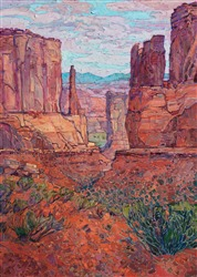 Modern oil painting of Arches National Park by impressionist artist Erin Hanson
