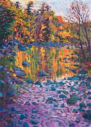 East coast fall colors captured in an impressionism oil painting by Erin Hanson.