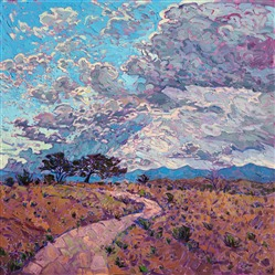 Monsoon sky clouds painting of New Mexico, by modern artist Erin Hanson