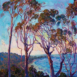 Torrey Pines view landscape oil painting by famous local artist Erin Hanson.