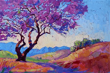 Jacaranda oil painting landscape by contemporary master Erin Hanson