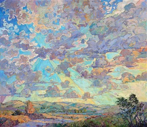 Paso Robles wine country California landscape oil painting, by contemporary impressionist Erin Hanson.