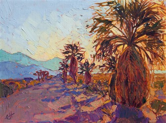 Borrego Springs palm oil painting by modern impressionist Erin Hanson.