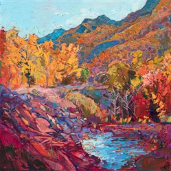 Oil painting of New Hampshire landscape by impressionist artist Erin Hanson