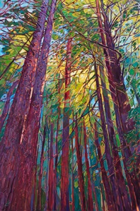 Redwood forest orignal oil painting by contemporary impressionism painter Erin Hanson