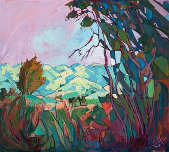 Paso Robles oil painting landscape with mosaic like texture by contemporary artist Erin Hanson