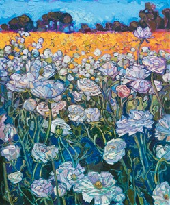 Carlsbad flower fields original oil painting for sale by San Diego impressionist artist Erin Hanson.