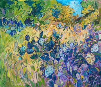 Texas landscape oil painting of a prickly pear in greens and purples by contemporary impressionist artist Erin Hanson