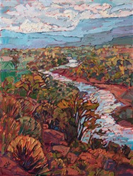 Abiquiu oil painting near Ghost Ranch New Mexico by contemporary impressionist Erin Hanson.