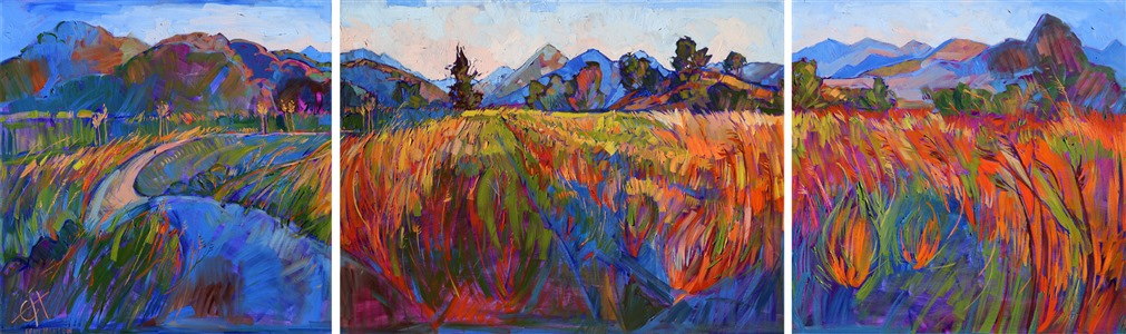 Triptych oil painting of San Luis Obispo country, by modern impressionist Erin Hanson
