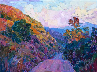 Carmel Valley wine country hills painted in a modern impressionist style, by Erin Hanson.