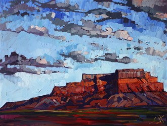 Mexican Hat, dramatic desertscape oil painting landscape by Erin Hanson