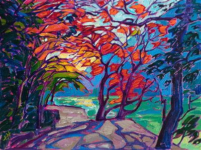 Petite Erin Hanson painting of Japanese maple, Kyoto Japan.