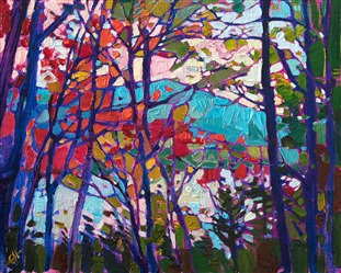 Autumn in New Hampshire oil painting by contemporary artist Erin Hanson