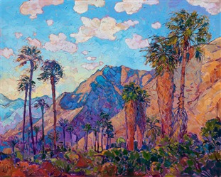 La Quinta mountains original oil painting for sale by California impressionist painter.