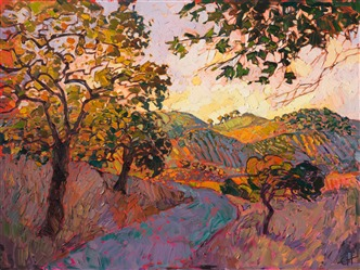 Vineyard Way, original oil painting of Paso Robles, by California Impressionist Erin Hanson