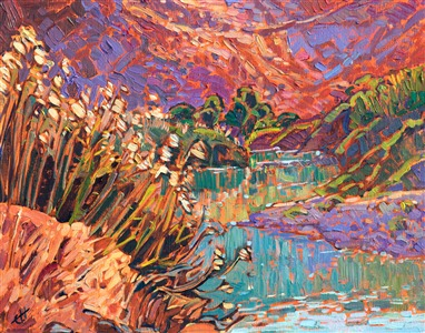 Small painting of the Rio Grande, by Erin Hanson