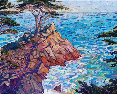 17 Mile Drive lone cypress oil painting artwork by Erin Hanson.