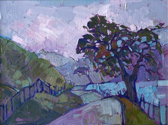 Periwinkle Dusk, small oil painting on board by Erin Hanson