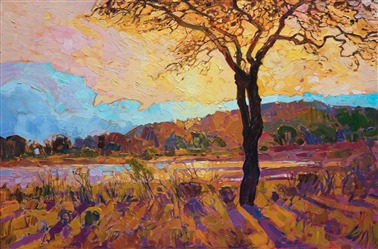 Austin Texas landscape oil painting for sale by contemporary impressionism painter Erin Hanson.