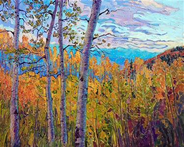 Cedar Breaks Utah aspen fall colors landscape oil painting by impressionist Erin Hanson.