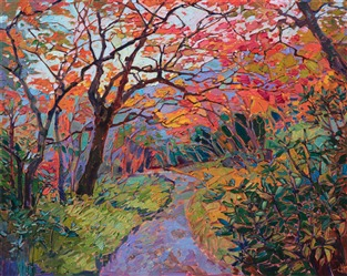 Oil painting of autumn colors and greenery in Kyoto Japan painted by contemporary impressionist artist Erin Hanson