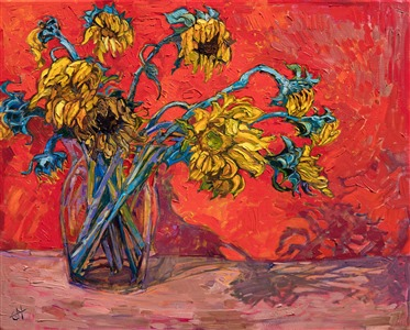 Floral still life painting by American impressionist Erin Hanson