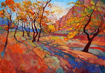 Zion cottonwood shadow painted in dramatic color and texture, by Erin Hanson