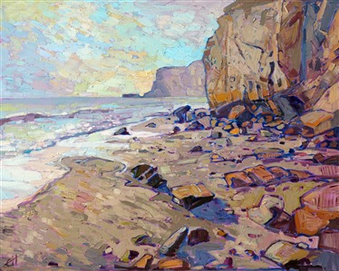 Rocky shores of San Diego Torrey Pines original oil painting by contemporary impressionist Erin Hanson