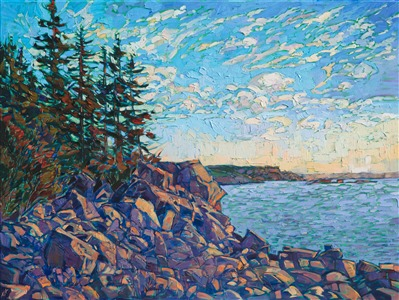 Oil painting of Acadia National Park, seascape with rocks and pine trees, painted by impressionist artist Erin Hanson