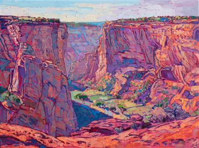 Oil painting of Canyon de Chelly, by American impressionist Erin Hanson.