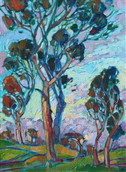 Big Canyon Country Club in Newport Beach original oil, colorful impressionism painting.