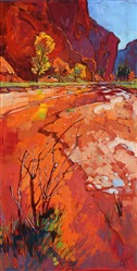 Zion red rock cliffs original oil painting by Erin Hanson
