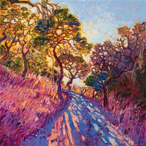 Crystal Light oil painting of Holman Ranch, Carmel Valley, by master impressionist Erin Hanson