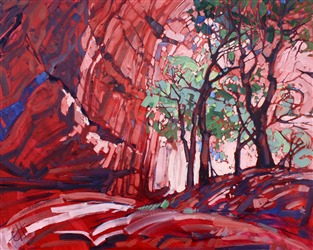 Cottonwoods at Chelly, modern impressionism painting of Canyon de Chelly, by Erin Hanson