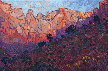 Western landscape painting of Zion National Park by contemporary impressionist artist Erin Hanson