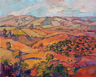 Impressionist painting of the hills in Paso Robles by artist Erin Hanson