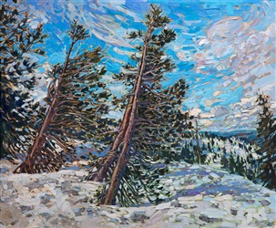 Sierras wintery snow painting in a modern, impressionist style, by Erin Hanson
