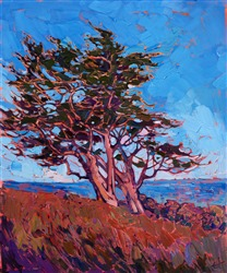 Pacific Grove cypress tree landscape oil painting for collectors of California impressionism.