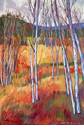 Aspens at Zion National Park, bold colorist oil painting by Erin Hanson