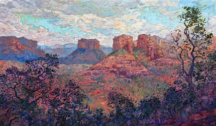 Oil painting of Sedona Buttes by contemporary impressionist artist Erin Hanson