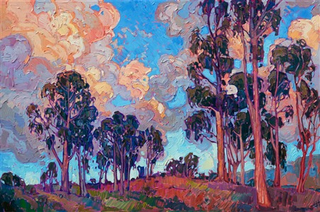 California eucalyptus tree oil painting by California impressionist Erin Hanson.