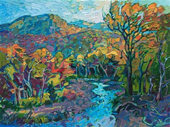 New England White Mountains oil painting in a modern impressionist style, by Erin Hanson
