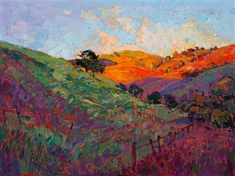 Wine Country collectible oil paintings for sale, by California impressionist Erin Hanson.