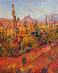 Mosaic texture captures the life and motion of Arizona desertscape, by modern impressionist Erin Hanson