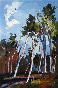 Utah Birches, original oil painting by Erin Hanson